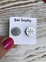 Silver Baseketball Sparkly Stud Acrylic Earrings