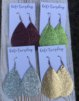 Holiday Metallic Leather Hang Earrings