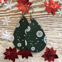 Small Green White Holiday Leather Earrings