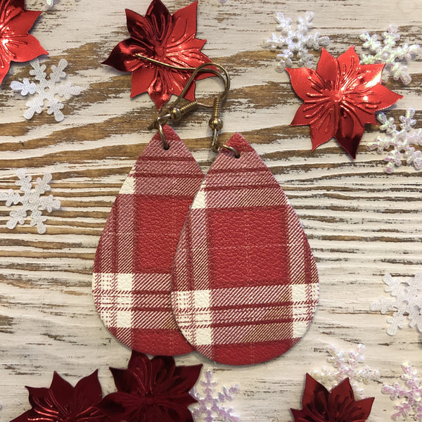 Small Red White Plaid Holiday Leather Earrings