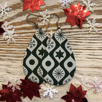 Green and White Holiday Leather Earrings