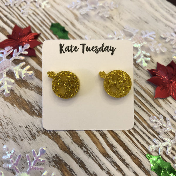 Gold Glitter Engraved Ornament Holiday Acrylic Stud Earrings