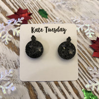 Black Glitter Ornament Holiday Acrylic Stud Earrings