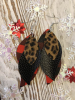 3 Layer Cheetah Red Plaid Holiday Leather Hang Earrings