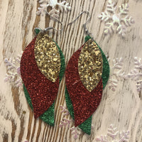 3 Layer Holiday Leather Hang Earrings