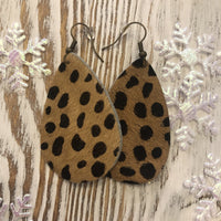 Cheetah Leopard Hair on Hide Earrings