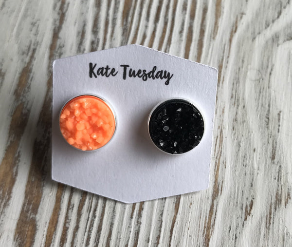 MisMatch Black Orange Halloween Druzy Earrings