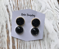 Black Druzy Black Glitter Halloween Earrings