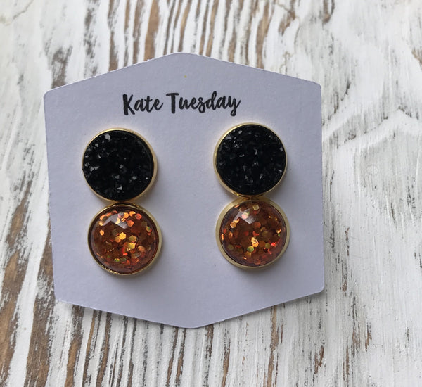 Orange Glitter Black Druzy Halloween Earrings