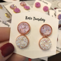 Double Druzy Pink Glitter Leaf and White 12mm Earrings