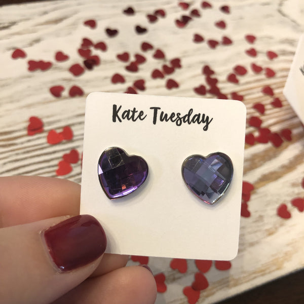 Multi Faceted Heart Stud Earrings