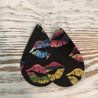 Black Glitter Rainbow Lips Faux Leather Earrings