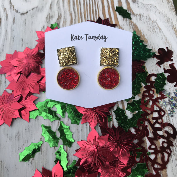 Gold Square + Red Stud Christmas Holiday Druzy Earrings Double Set