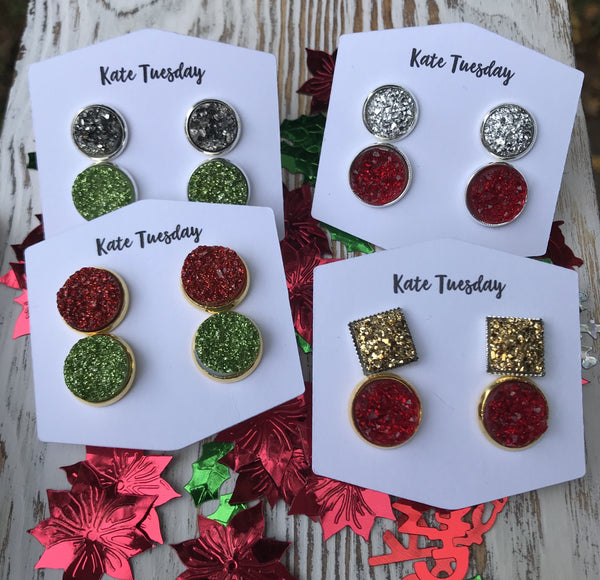 Holiday Christmas Color Double Druzy Earring Sets