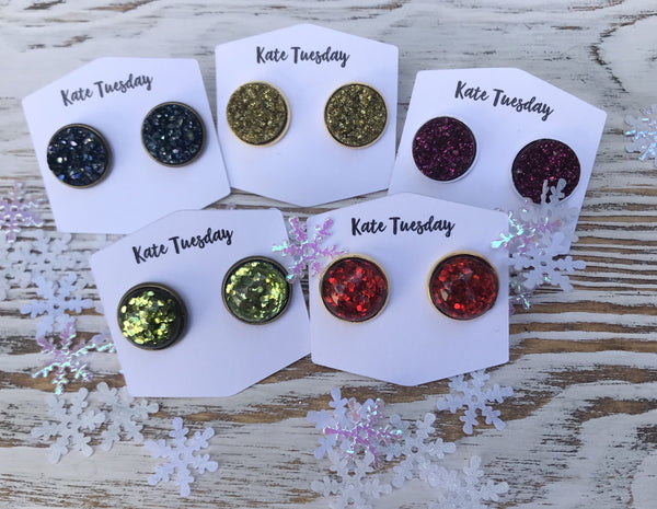 Sparkly Holiday Glitter Earrings Druzy Box