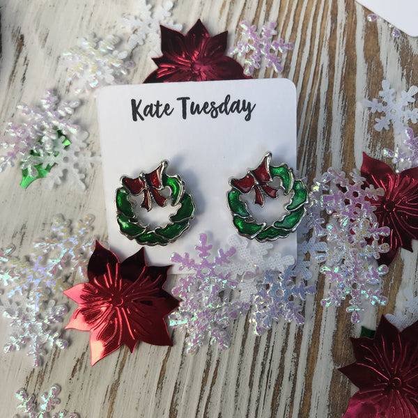 Silver Green Wreath Red Bow Festive Stud Earrings