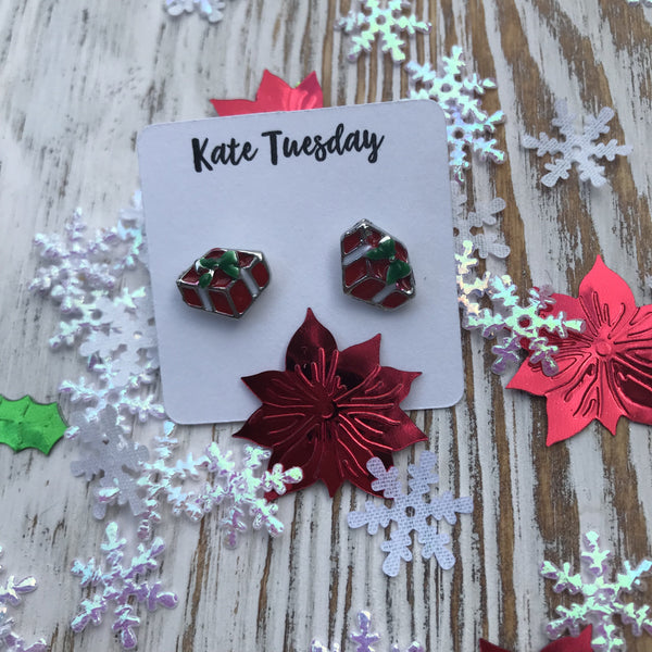 Geometric Silver Christmas Present Stud Festive Earrings