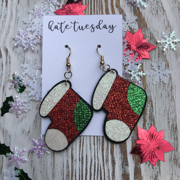 Red Glitter Stocking Christmas Holiday Hang Leather Earrings
