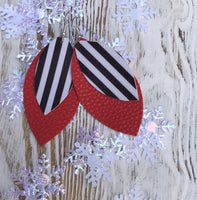 Holiday Red + Black + White Stripe Leather Hang Earrings