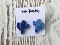 Sparkly Blue Cactus Cacti Acrylic Stud Earrings