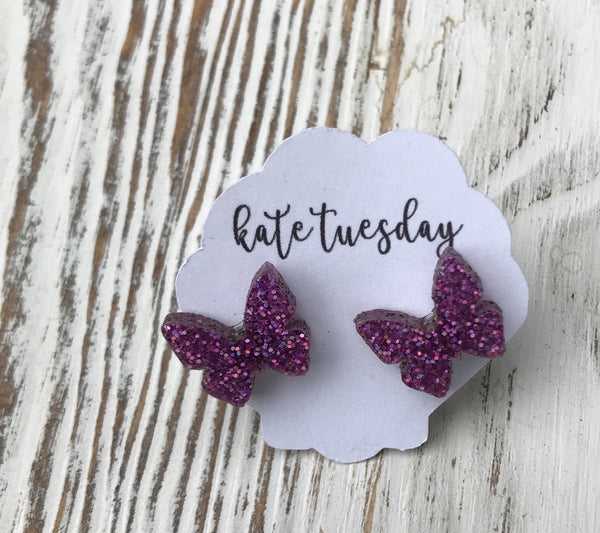 Purple Sparkly Butterfly Stud Acrylic Earrings
