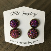 Purple Spazz Mommy + Me Druzy Earrings Set