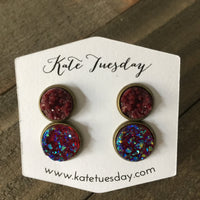 Maroon Sparkle Mommy + Me Druzy Earrings Set