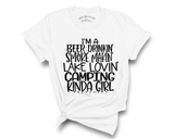 """I'm A Beer Drinkin' S'more Makin' Lake Lovin' Camping Kinda Girl"" Tee"