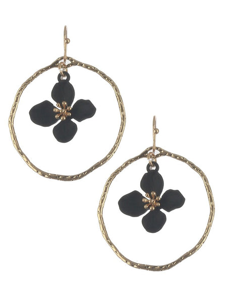 Hoop Flower Dark Drop Earrings