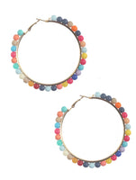 Rainbow Beaded Summer Hoop Earrings