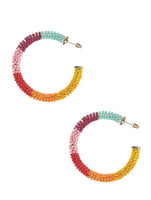 Chunky Rainbow Beaded Summer Hoop Earrings