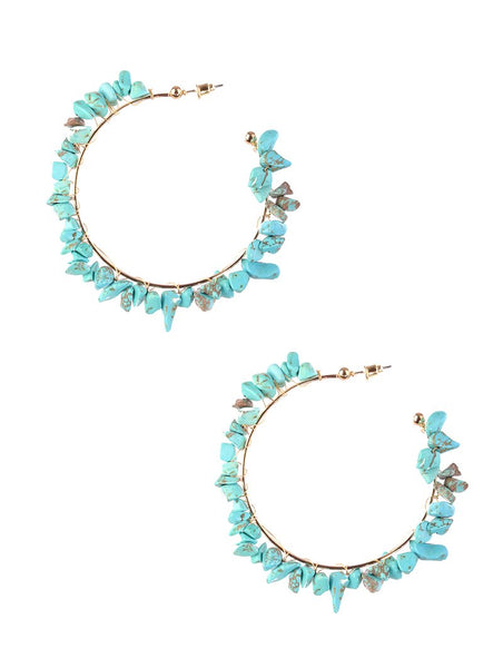 Turquoise Natural Bead Summer Hoop Earrings
