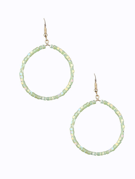 Summer Green Glass Beaded Hoop Earrings