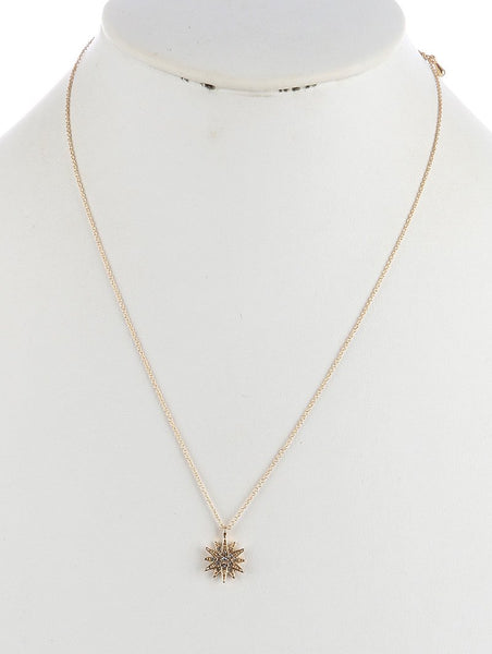 Pave Crystal Gold Starburst Necklace