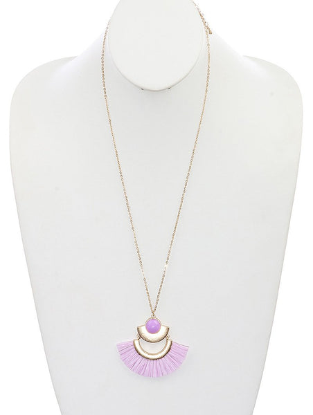 Purple Straw Metal Necklace