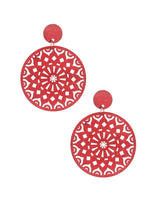 Red Wood Round Earrings