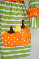 Pumpkin applique green stripe ruffle dress QZ-319392 sale