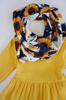 Sunflower print tunic pants scarf 3 pcs set for girls
