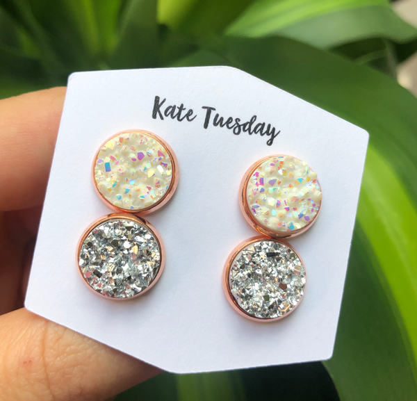 Double White + Silver Druzy in Rose Gold Setting