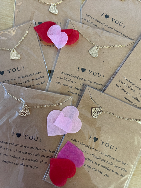 I Love You Gold Necklace on Card