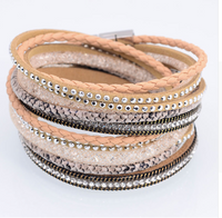 Khaki Wrap Beaded Bracelet Cuff