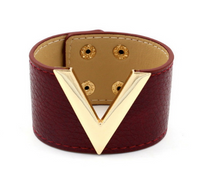 Gold V Bangle Bracelet Cuff Leather Deep Red