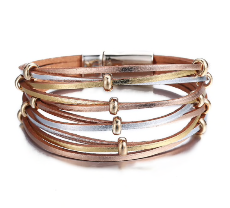 Rose and Gold Leather Wrap Bracelet Magnetic