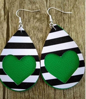 Green Heart 2 Layer St Patricks Day Faux Leather Earrings