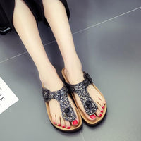 Glitter Cork Sandals - Single Buckle