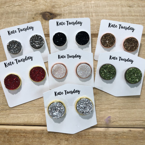 Holiday Druzy Stud Earrings 12mm