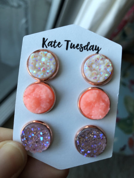 Let's Go Neon Triple Druzy Earrings Set