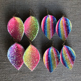 Ombre Striped Glitter Folded Teardrop Earrings Tie Dye