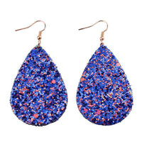 Royal Blue Glitter Teardrop Earrings