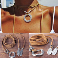 Summer Brown Leather Silver Choker Necklace Wrap
